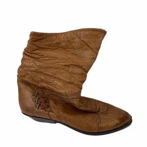 Clicks Vintage Brown Leather Slouch Boots